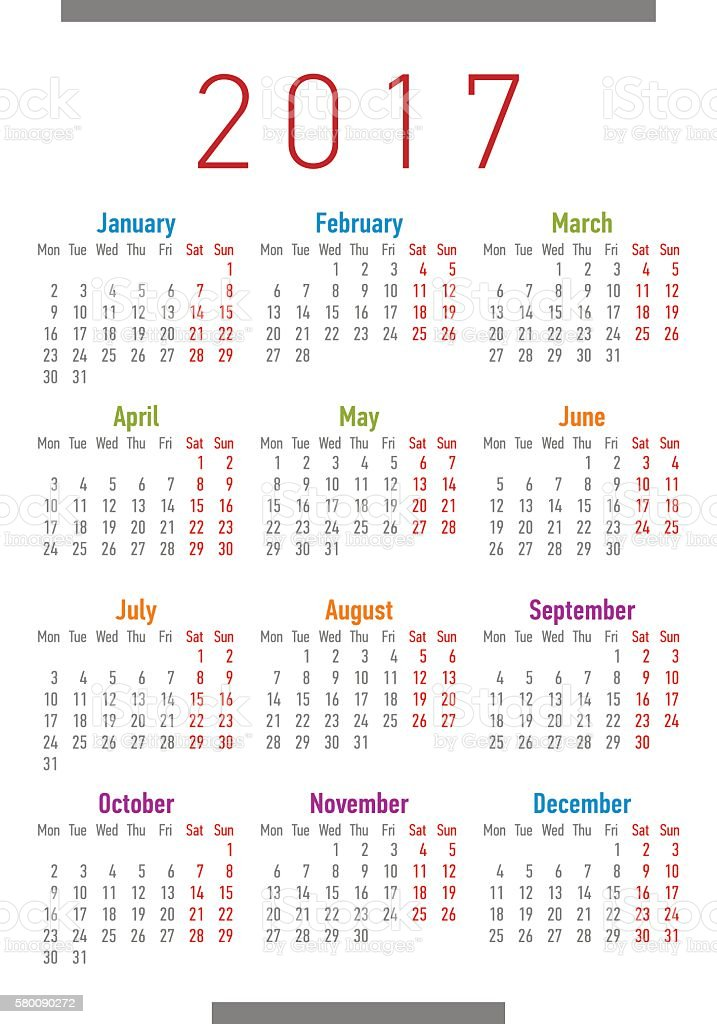 Year Calendar Starting : Year calendar simple style week starts from monday