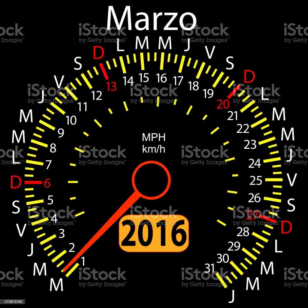 Calendario In Spagnolo.Anno Di Calendario Contachilometri Auto In Spagnolo Marcia