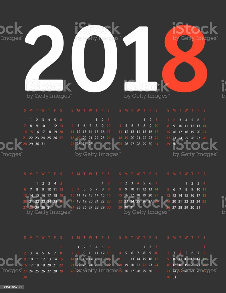 2018 year calendar template. Flat design template royalty-free 2018 year calendar template flat design template stock vector art & more images of 2018