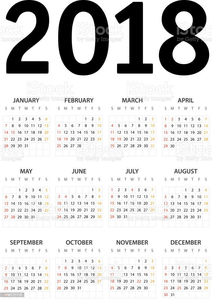 2018 Jahr Kalendervorlage Flache Designvorlage Stock Vektor Art und ...