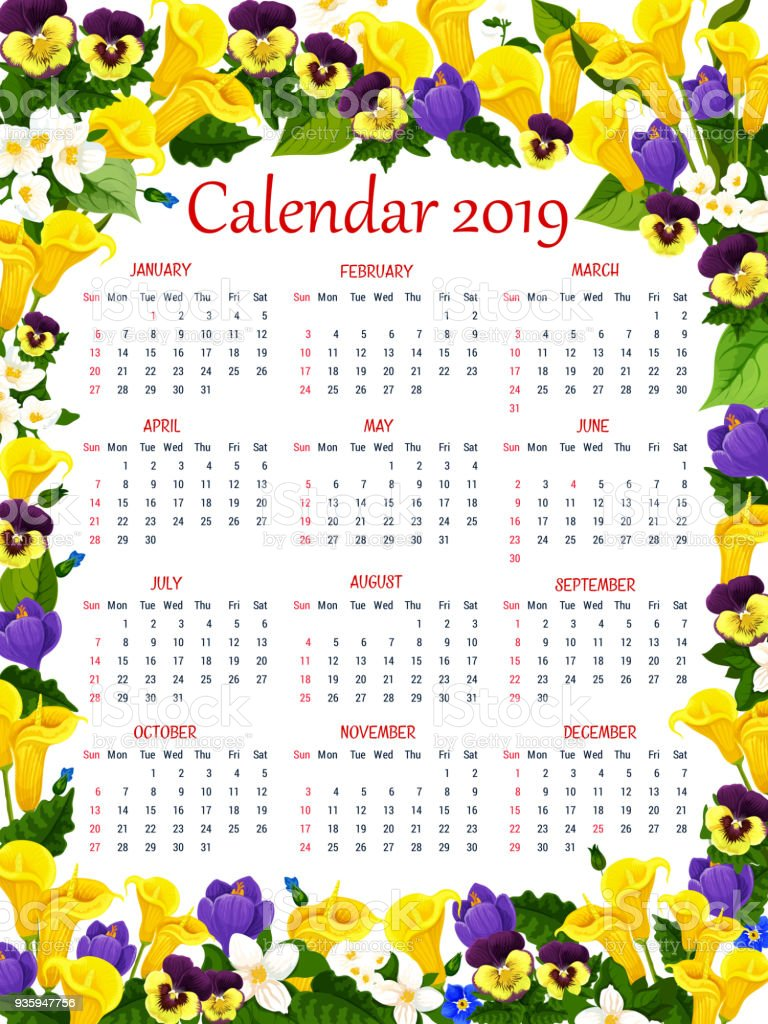 year calendar template with spring flower frame stock vector art