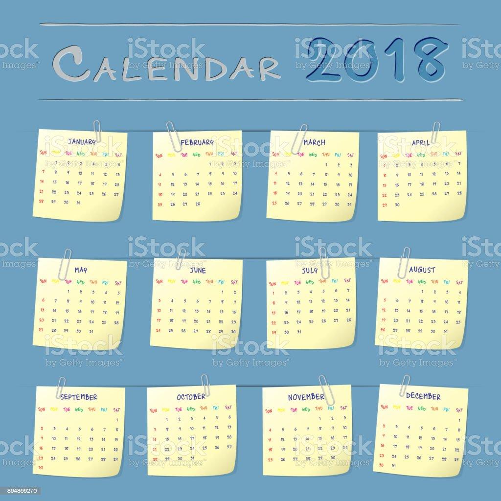 2018 Jahr Kalender-Vektor-Design – Vektorgrafik