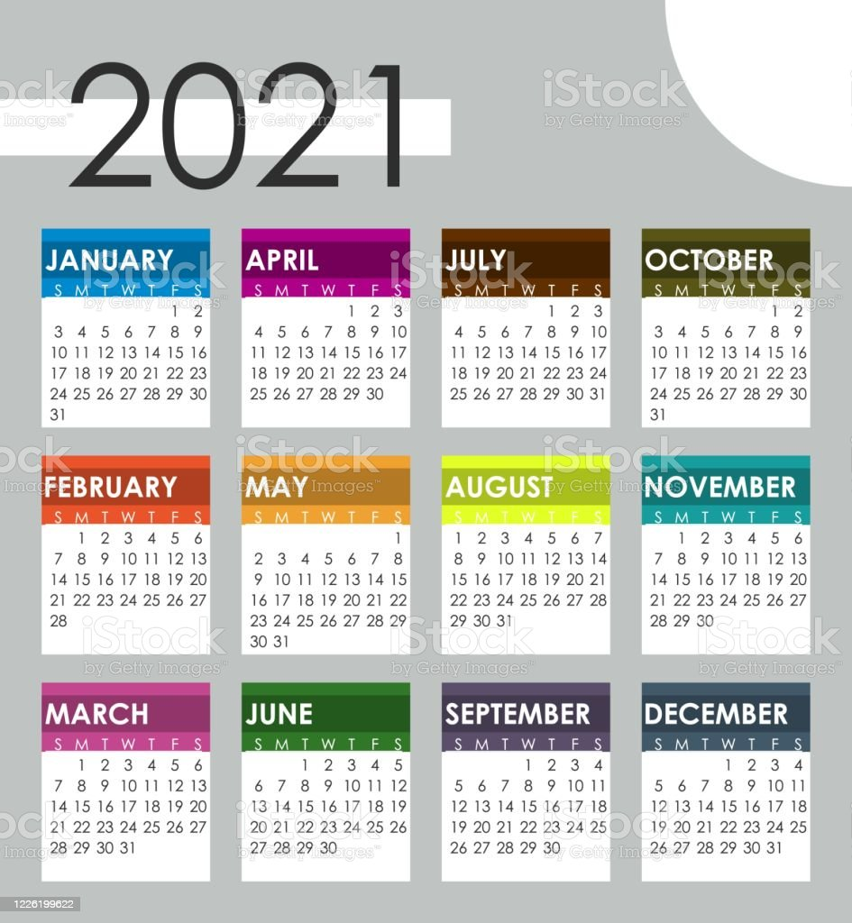 2021 Year Calendar Vector Illustration Month Business ...