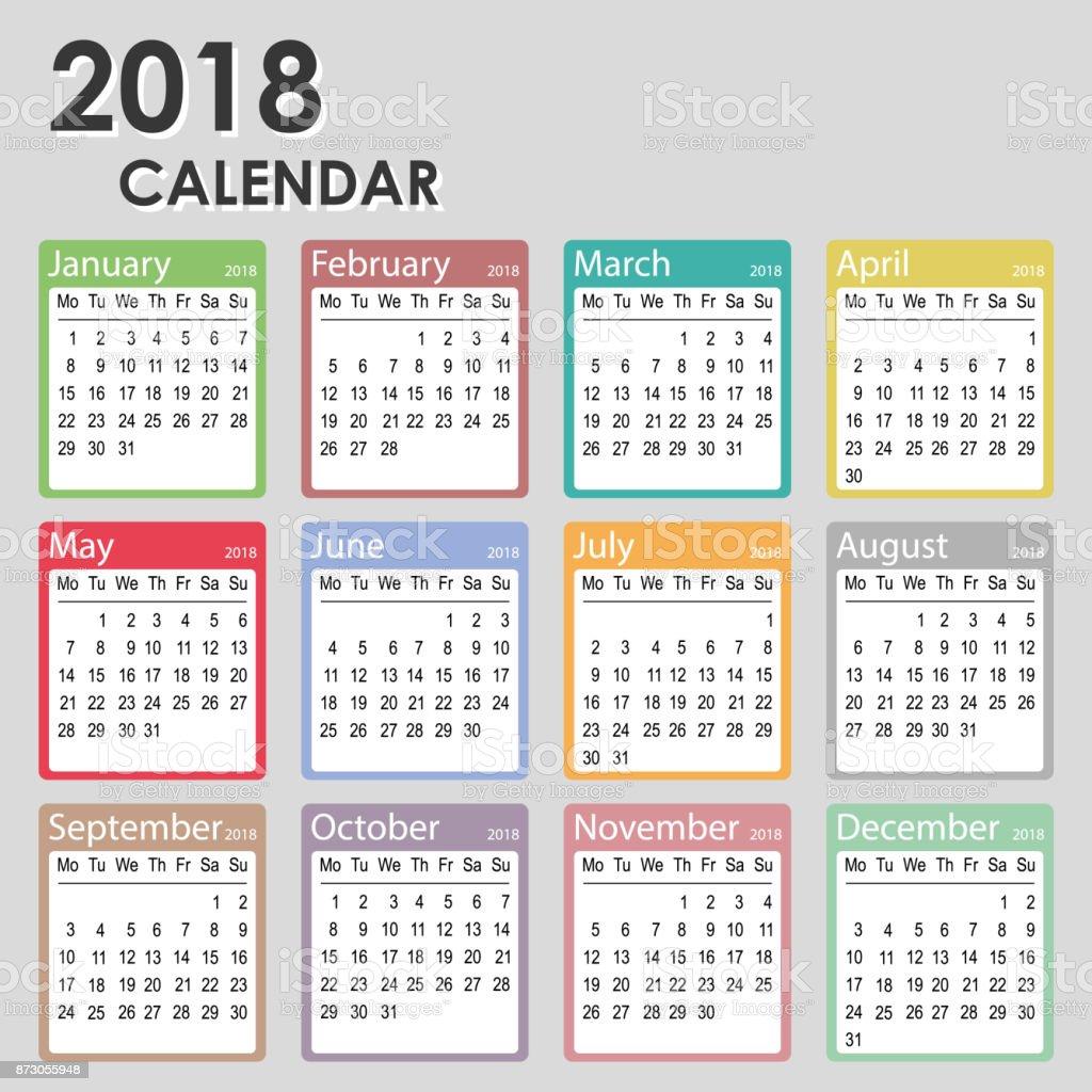 Kalender Für Das Jahr 2018 Woche Beginnt Am Montag Den Monatlichen ...