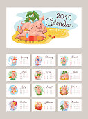 2019 year calendar with cartoon stylized pigs. Vector illustration
