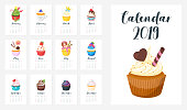 2019 year monthly calendar of all month. Vector cartoon style template for print. Tasty muffin on every page. Vertical layout.