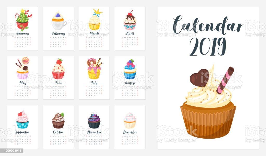 カップケーキと 2019 年のカレンダー ベクターアートイラスト