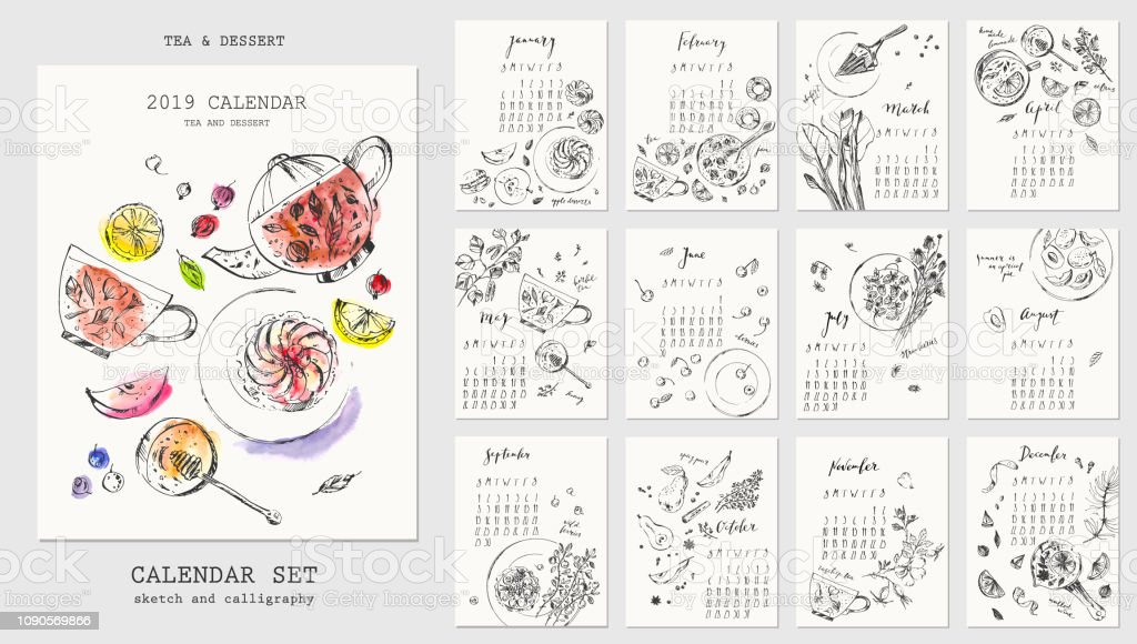 Year Calendar With Ink Calligraphy Elements And Dessert Sketch
