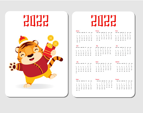 2022 year calendar with tiger. Chinese new year design with symbol of lunar zodiac, tiger with red money envelope