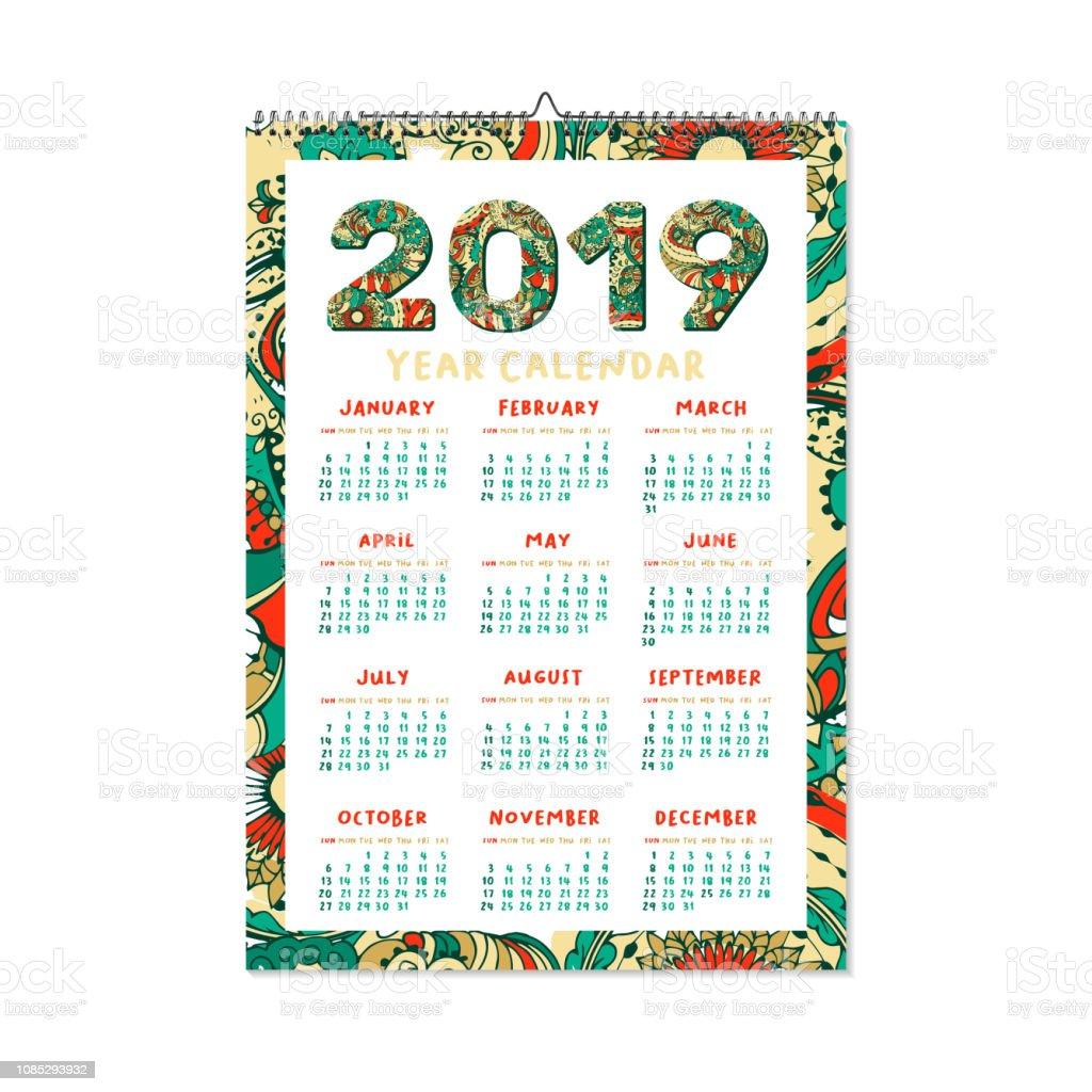Kalender Weihnachten 2019.Kalender Für Das Jahr 2019 Weihnachten Oder Frohes Neues