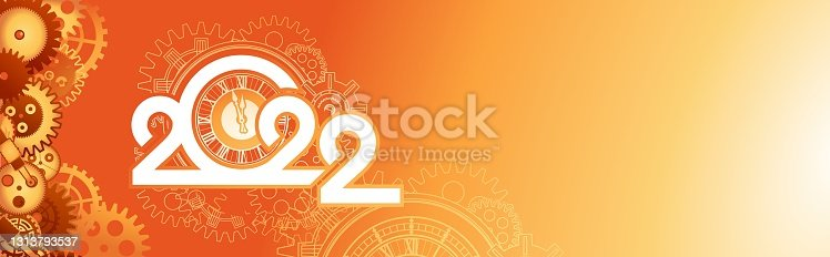 2022 logo mechanical time chains, numbers of the year vector isolated illustration