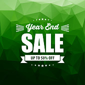 Vector of year end sale info on green color pixels background. This illustration is an EPS 10 file.