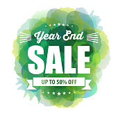 Vector of year end sale info on green color watercolor background. EPS ai10 file format.