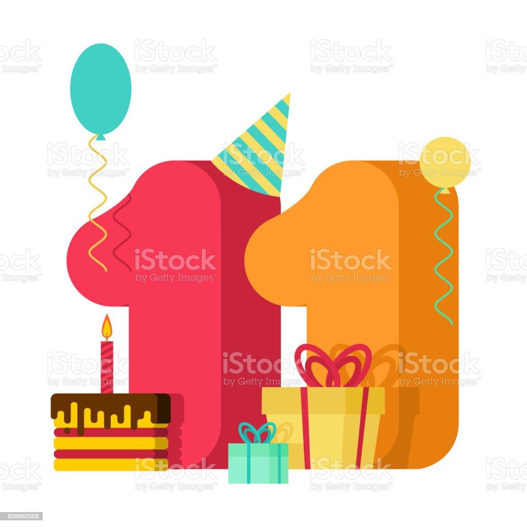 Tarjeta De Felicitación Cumpleaños De 11 Años Aniversario 11 De ...