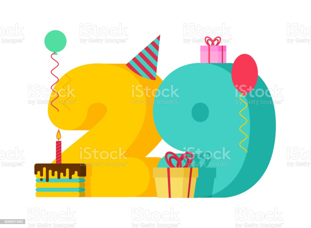 29 year greeting card Birthday. 29th anniversary celebration Template. twenty nine number and festive piece of cake with candle. Balloon and Gift box. vector art illustration
