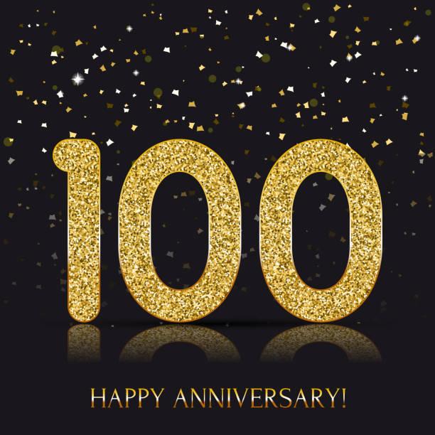 bildbanksillustrationer, clip art samt tecknat material och ikoner med 100 - åriga lyckliga årsdagen banner. 100 årsjubileum gold logo på mörk bakgrund. - nummer 100