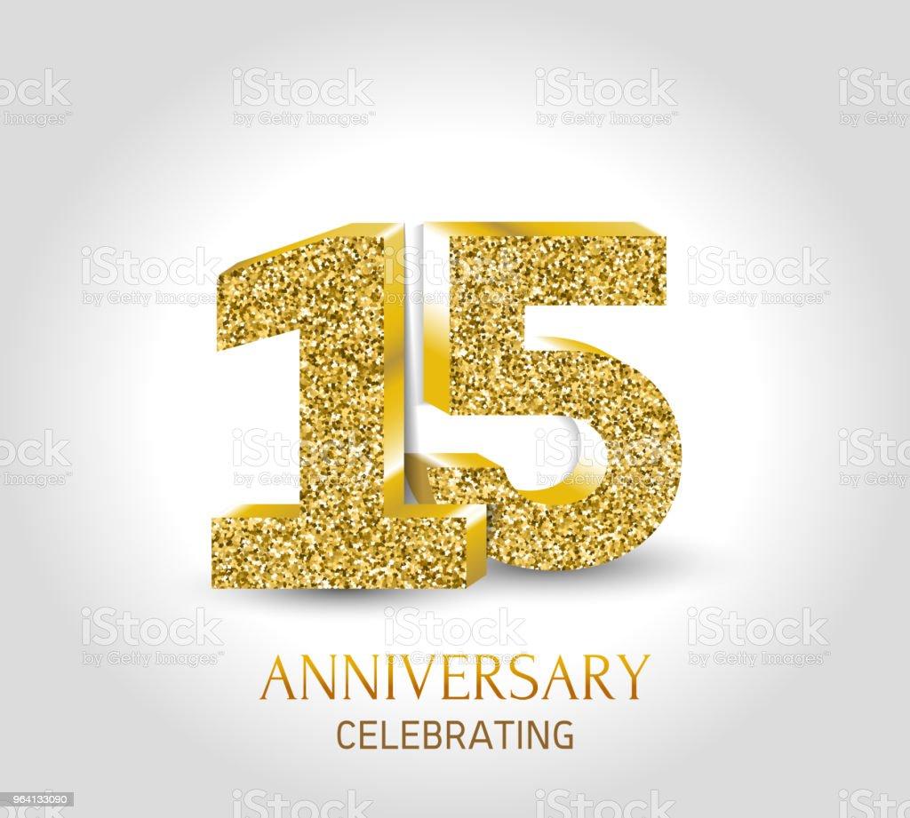 15 Jarige Gelukkige Verjaardag Banner 15e Verjaardag Goud 3d Logo