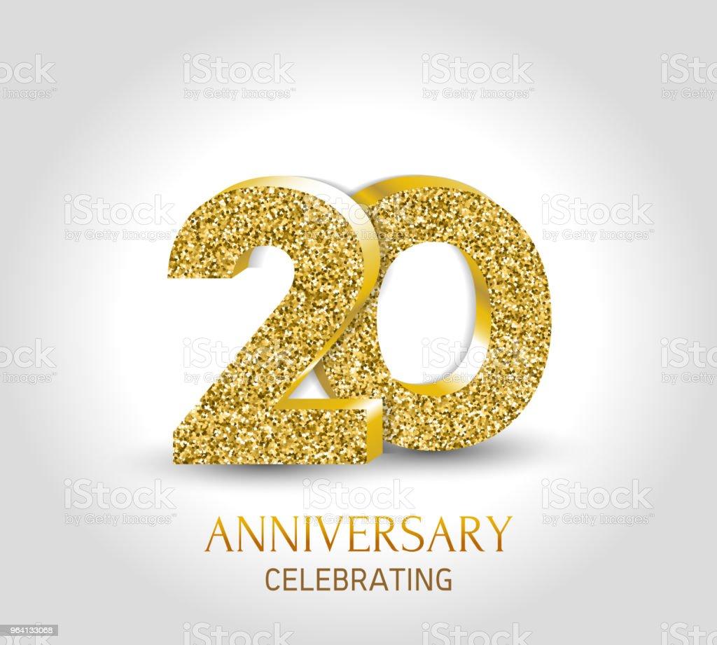 20 Jaar Gelukkige Verjaardag Banner 20ste Verjaardag Goud 3d Logo