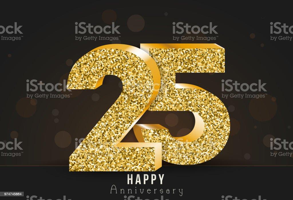 25 - Jahres-Jubiläum-Banner. 25. gold Jubiläumslogo auf dunklem Hintergrund. – Vektorgrafik
