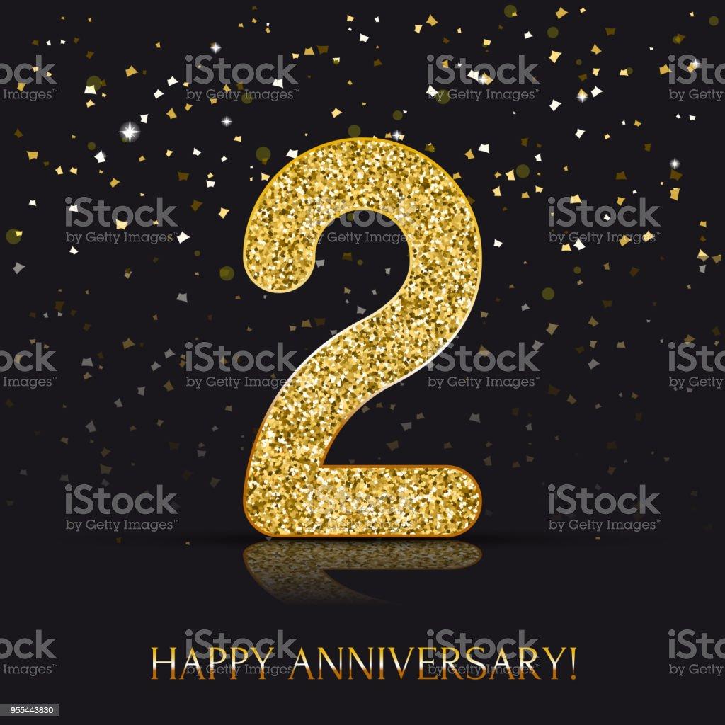 2 Year Happy Anniversary Banner 2nd Anniversary Gold Logo On Dark