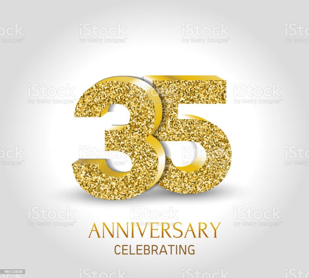35 Jaar Gelukkige Verjaardag Banner 35e Verjaardag Goud 3d Logo Met