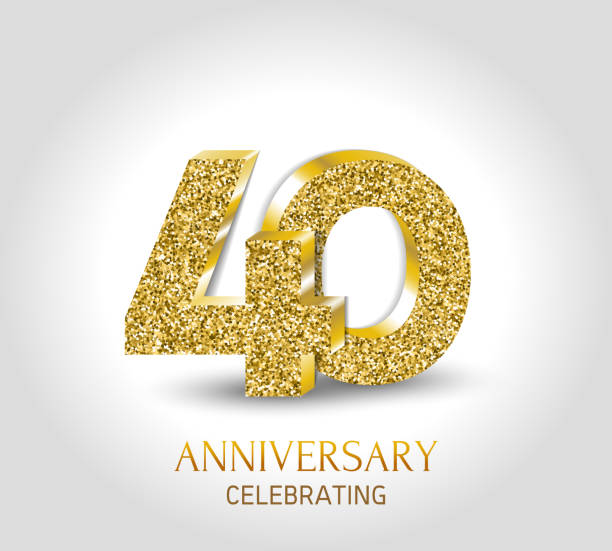 50 - year happy anniversary banner. 50th anniversary gold 3d logo with gold elements. vector art illustration