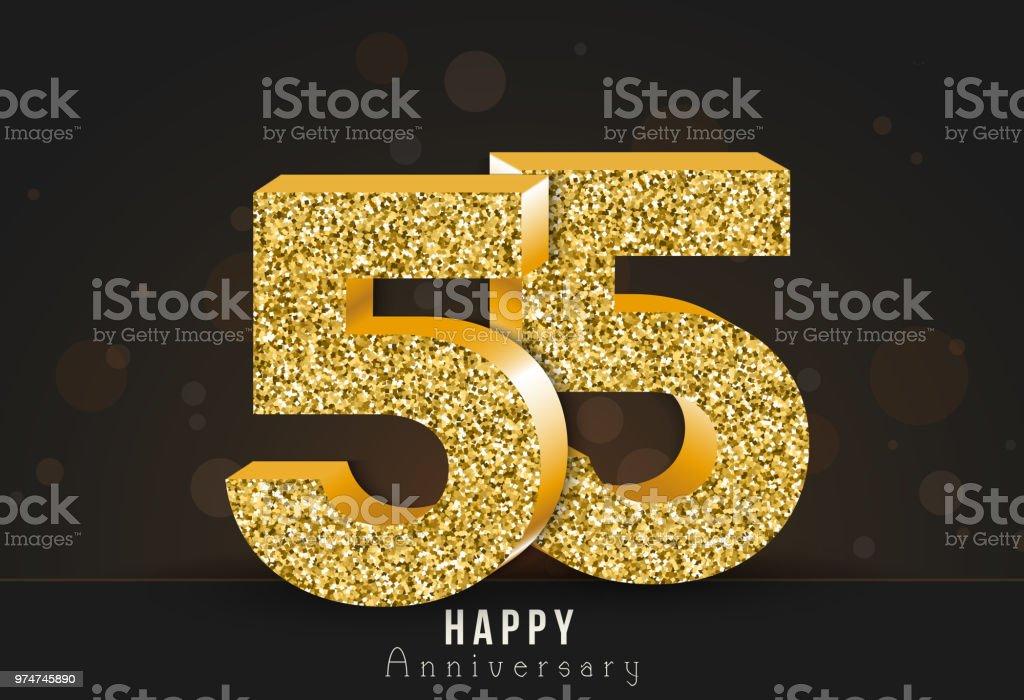 55 year happy anniversary banner 55th anniversary gold logo on dark
