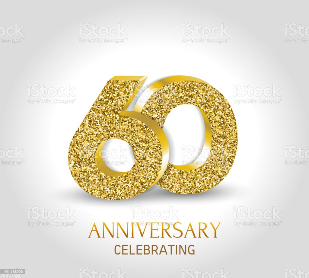 Download 60 Year Happy Anniversary Banner 60th Anniversary Gold 3d ...