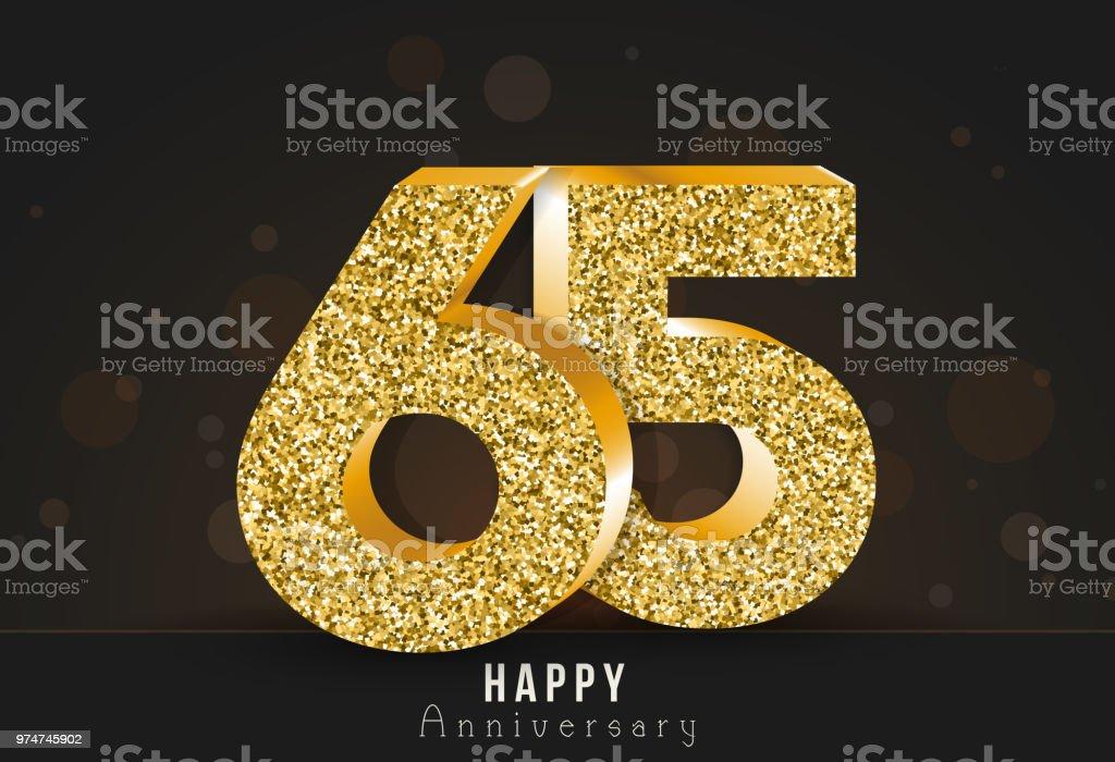 65 - year happy anniversary banner. 65th anniversary gold logo on dark background. vector art illustration