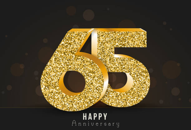 65 - year happy anniversary banner. 65th anniversary gold logo on dark background. vector art illustration
