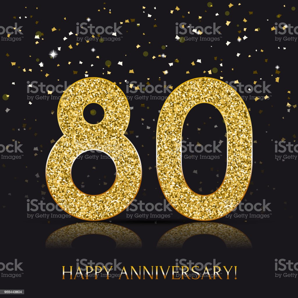 80 year happy anniversary banner 80th anniversary gold logo on dark