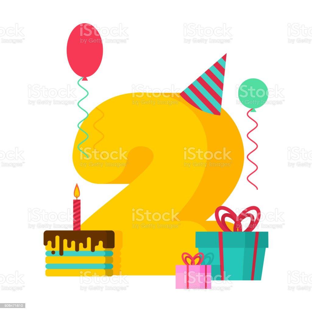 Carte De Voeux De Joyeux Anniversaire De 2 Ans 2e Anniversaire Modele Deux Numero Et Festive Du Gateau Avec Une Bougie Boite De Ballon Et De Cadeau Vecteurs Libres De Droits Et