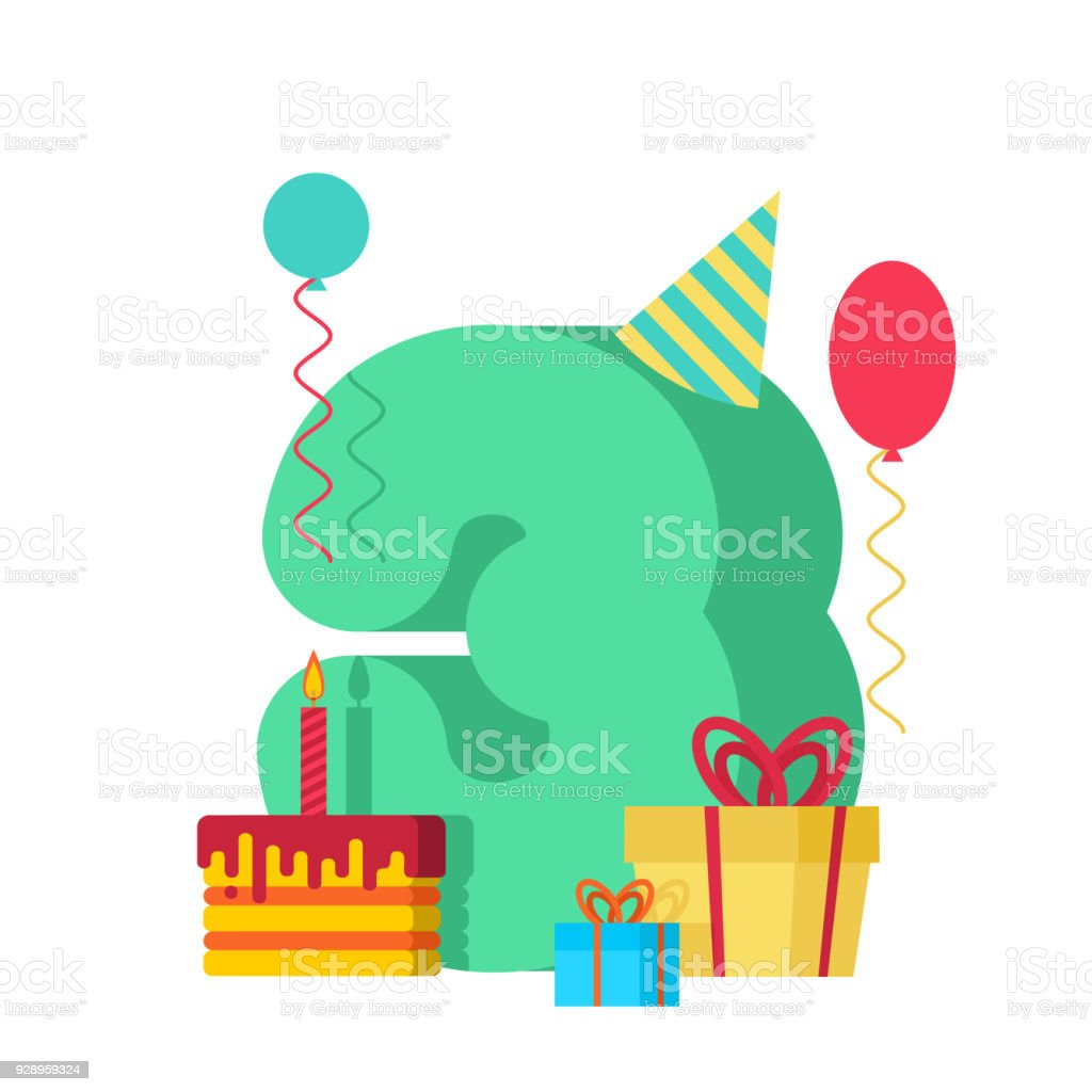3 year happy birthday greeting card 3th anniversary celebration 3 year happy birthday greeting card 3th anniversary celebration template three number and festive maxwellsz