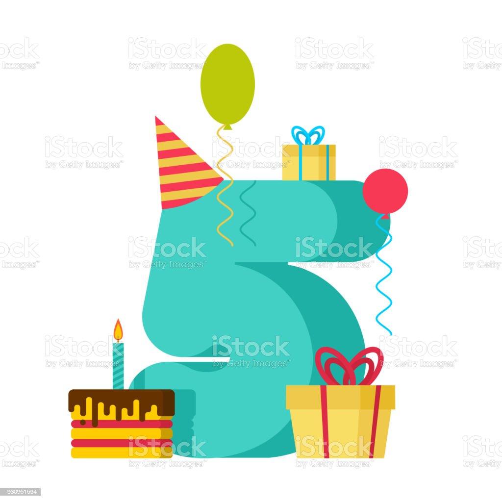 5 year happy birthday greeting card 5th anniversary celebration