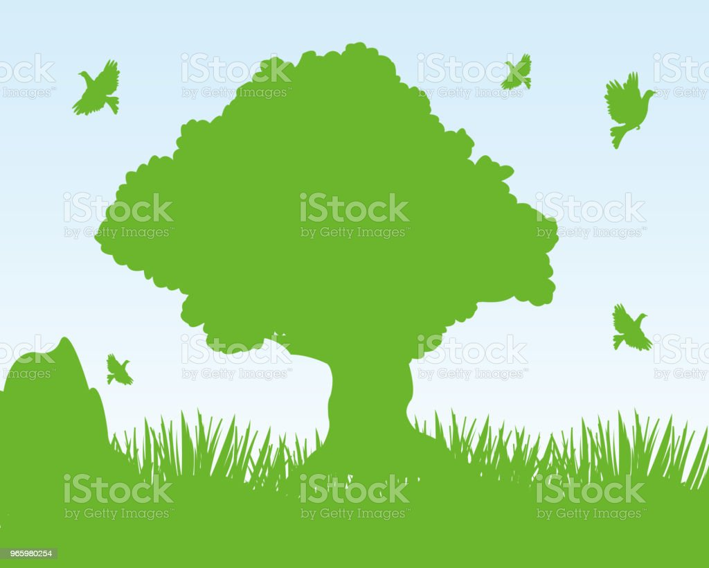 Year landscape tree and meadow - Royalty-free Animal stock vector