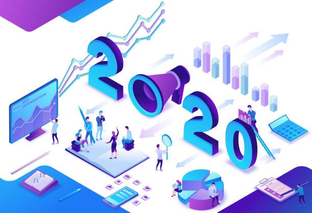 2020-Jahres-Marketingplan, Social Media isometrische 3D-Infografik-Strategie, Promotion-Kampagnenkonzept, Mitarbeiter in Teamwork analysieren Website-Inhaltebericht, Werbebanner-Vektor-Illustration – Vektorgrafik