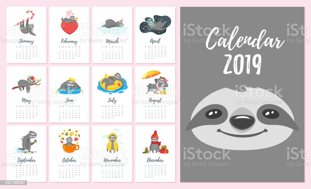 2019  year monthly sloth  calendar vector art illustration