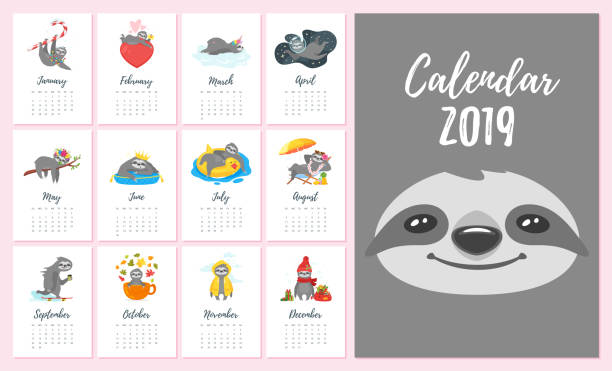 2019  year monthly sloth  calendar - birds calendar stock illustrations, clip art, cartoons, & icons