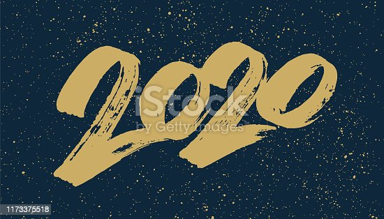 2020 year number hand painted with a brush.  You can edit the colors or sizes easily if you have Adobe Illustrator or other vector software. All shapes are vector