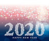 A vector illustration to show year of 2020 in a star background