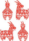 Year of Goat design elements illustration set