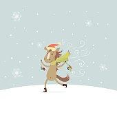 Running horse, New Year illustration