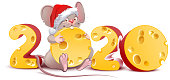 2020 year of mouse to Chinese calendar. Santa mouse holding swiss cheese. Isolated on white vector cartoon illustration