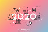 Infographic concept, 2020 - year of opportunities. New hot trends and predictions in economics, budget planning, money saving, tax and credit debt paying off. Vector illustration in thin line style.