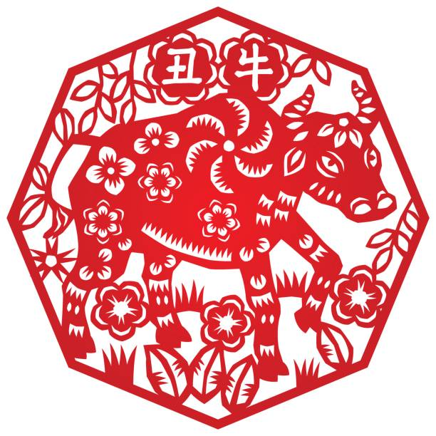 Year of Ox Traditional Chinese zodiac paper-cut art, isolated on white vertebrate stock illustrations