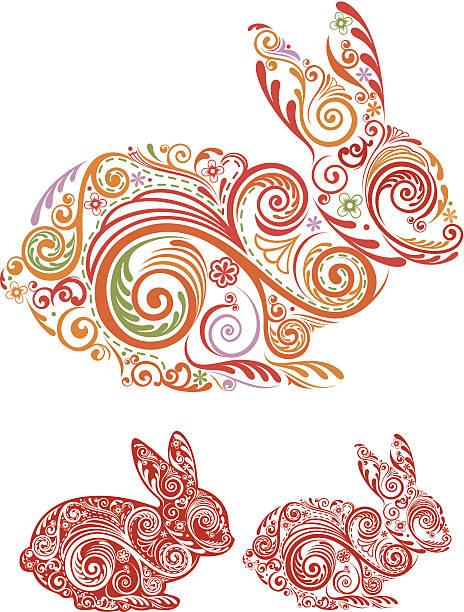 illustrazioni stock, clip art, cartoni animati e icone di tendenza di anno di coniglio - totem fair
