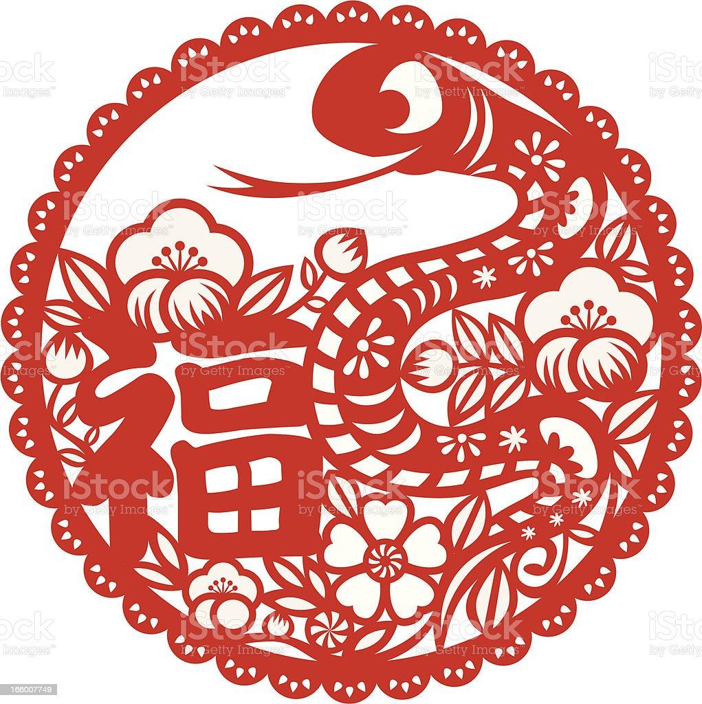 Year of snake ornament vector art illustration