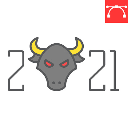 Year of the bull 2021 color line icon, merry christmas and new year, year of the ox sign vector graphics, editable stroke filled outline icon, eps 10.