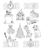 2018 Year of the Dog doodles set. Vector illustration.