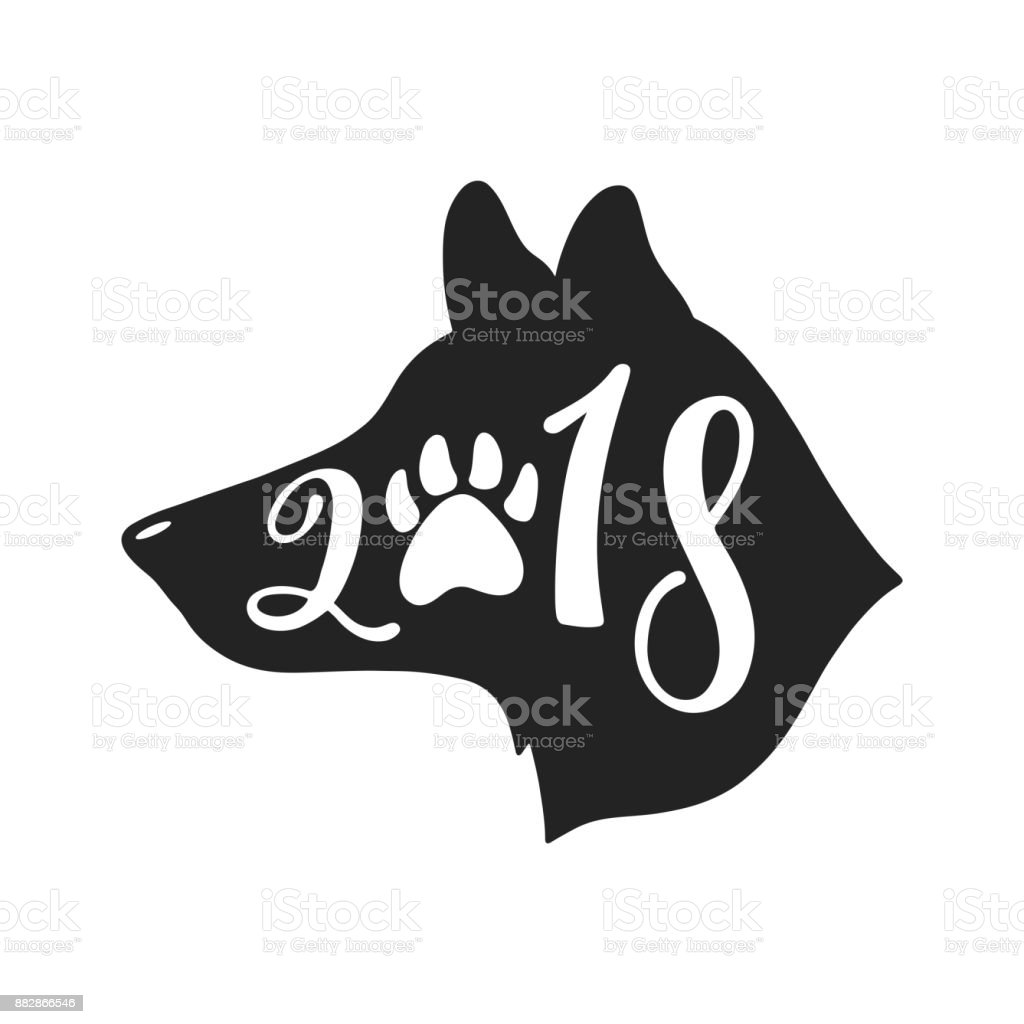 2018 - Year of the Dog. Chinese sign of zodiac graphic design. Hand drawn typography design. vector art illustration